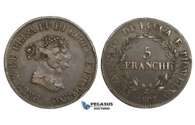 AA297, Italy, Lucca & Piombino, Felix & Elisa, 5 Franchi 1805, Silver, Toned VF