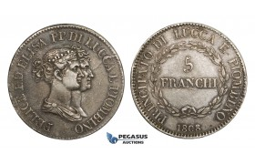 AA298, Italy, Lucca & Piombino, Felix & Elisa, 5 Franchi 1808, Silver, Toned VF-XF