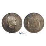AA299, Italy, Kingdom of Napoleon, 5 Lire 1808-M, Milan, Silver, Toned aVF