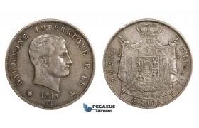 AA301, Italy, Kingdom of Napoleon, 5 Lire 1813-M, Milan, Silver, Toned VF-XF