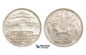 AA302, Lebanon, 25 Piastres 1929, Silver, AU