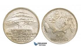 AA303, Lebanon, 50 Piastres 1929, Silver, AU