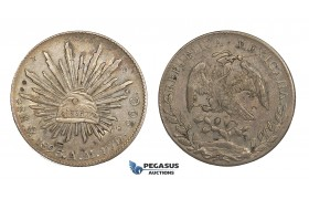 AA307, Mexico, 8 Reales 1893 Mo AM, Mexico City, Silver, Chop marked, Toned VF-XF