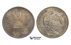 AA308, Mexico, 8 Reales 1897 Zs FZ, Zacatecas, Silver, Toned AU