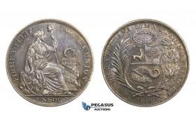 AA312, Peru, Sol 1893 LIMA TF, Lima, Silver, Toned AU
