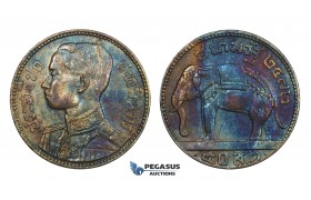 AA320, Thailand, Rama VII, 1/2 Baht BE2472 (1929) Silver, Toned AU
