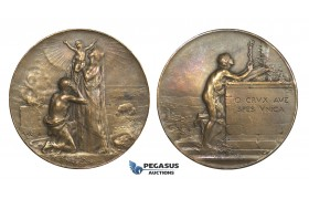 AA328, France, Bronze Art Nouveau Religious Medal ND (Ø46mm, 40g) by Dupre, Redemption