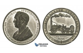 "AA329, Great Britain, Tin Medal 1881 (Ø45mm, 28.8g) by Chapman, George Stephenson, ""The Rocket"", Train, Railroad"