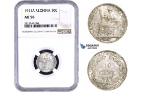 AA346-R, French Indo-China, 10 Centimes 1911-A, Paris, Silver, NGC AU58