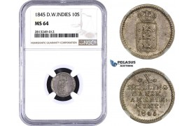 AA347-R, Danish West Indies, 10 Skilling 1845, Silver, NGC MS64