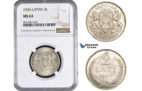 AA350, Latvia, 2 Lati 1926, Silver, NGC MS63