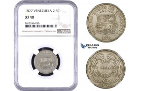 AA357-R, Venezuela, 2 1/2 Centavos 1877, NGC XF40