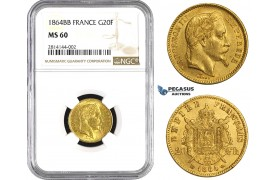 "AA362, France, Napoleon III, 20 Francs 1864-BB Large ""BB"" Strasbourg, Gold, NGC MS60, Rare!"