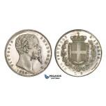 AA363, Italy, Emilia, Vittorio Emanuele II, 5 Lire 1859, Bologna, Silver, Proof, Extremely Rare!