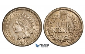 AA366, United States, Indian Head Cent 1863, Philadelphia, Scuffs, Light cleaning, aUNC