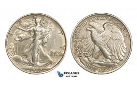 AA369, United States, Walking Liberty Half Dollar (50C) 1920, Philadelphia, Silver, Lightly polished XF-AU