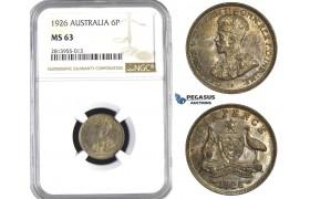 AA371, Australia, George V, Sixpence (6P) 1926, Silver, NGC MS63