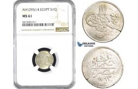 AA381, Ottoman Empire, Egypt, Abdülhamid II, 1 Qirsh AH1293/4, Misr, Silver, NGC MS61