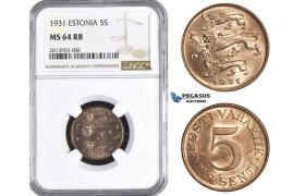AA382, Estonia, 5 Senti 1931, NGC MS64RB