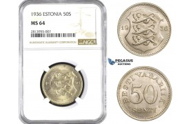 AA383, Estonia, 50 Senti 1936, NGC MS64