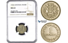 AA384, Estonia, 1 Mark 1926, NGC MS63
