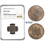 AA387, France, Napoleon III, 2 Centimes 1854-W, Lille, NGC MS63RB