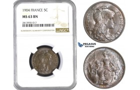 AA389, France, Third Republic, 5 Centimes 1904, Paris, NGC MS63BN