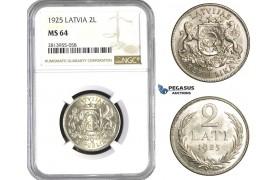 AA427, Latvia, 2 Lats 1925, Silver, NGC MS64
