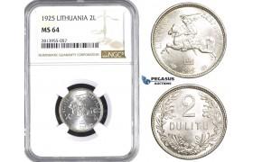 AA428, Lithuania, 2 Litu 1925, SIlver, NGC MS64