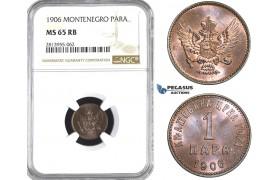 AA432, Montenegro, Nicholas I, 1 Para 1906, NGC MS65RB