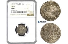 AA435, Poland, Sigismund III, 3 Groschen (Trojak) 1594 IF, Posen, Poznan, Silver, NGC MS63