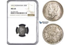 AA438, Romania, Carol I, 50 Bani 1912, Silver, NGC MS64