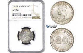 AA443, Straits Settlements, George V, 20 Cents 1919-B, Bombay, Silver, NGC MS64