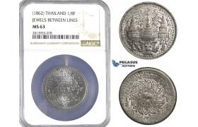 AA444, Thailand, Rama IV, 1/8 Fuang ND (1862) Pewter, NGC MS63