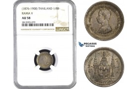 AA445, Thailand, Rama V, 1/8 Baht ND (1876-1900) Silver, NGC AU58