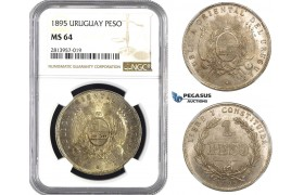 AA446, Uruguay, Peso 1895, Buenos Aires, Silver, NGC MS64, Rare!
