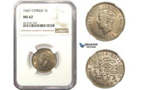 AA473, Cyprus, George VI, 1 Shilling 1947, NGC MS62