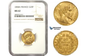 AA478, France, Napoleon III, 20 Francs 1858-A, Paris, Gold, NGC MS62