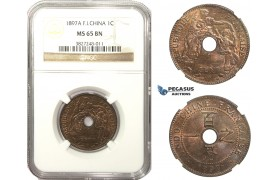 AA480, French Indo-China, 1 Centime 1897-A, Paris, NGC MS65BN