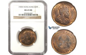 AA486, Hong Kong, Edward VII, 1 Cent 1905-H, Heaton, NGC MS65RB