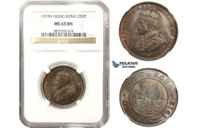 AA487, Hong Kong, George V, 1 Cent 1919-H, Heaton, NGC MS65BN