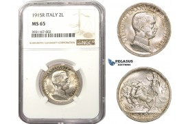 AA491, Italy, Vitt. Emanuele III, 2 Lire 1915-R, Rome, Silver, NGC MS65