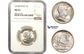 AA492, Italy, Vitt. Emanuele III, 2 Lire 1915-R, Rome, Silver, NGC MS65