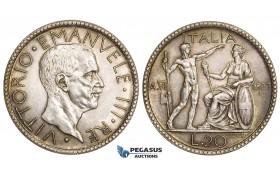 AA493, Italy, Vitt. Emanuele III, 20 Lire 1927 VI-R, Rome, Silver, Cleaned UNC (Toned)