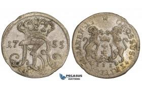 AA497, Poland, Danzig, August III, 3 Groschen (Trojak) 1755, Danzig, Billon/Silver? (1.31g) VF-XF