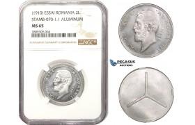 AA500, Romania, Carol I, ESSAI 2 Lei ND (1910) Brussels, Aluminum, NGC MS65, Rare!