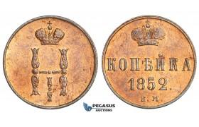 AA512, Russia, Nicholas I, 1 Kopek 1852 ЕМ, Ekaterinburg, Red AU