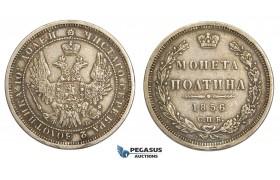 AA513, Russia, Alexander II, Poltina 1856 СПБ-ФБ, St. Petersburg, Silver, VF-XF