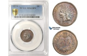 AA518, United States, Indian Cent 1874, Philadelphia, PCGS MS62BN