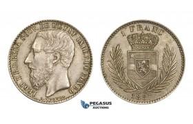 AA522, Belgian Congo, Leopold II, 1 Franc 1887, Silver, AU-UNC